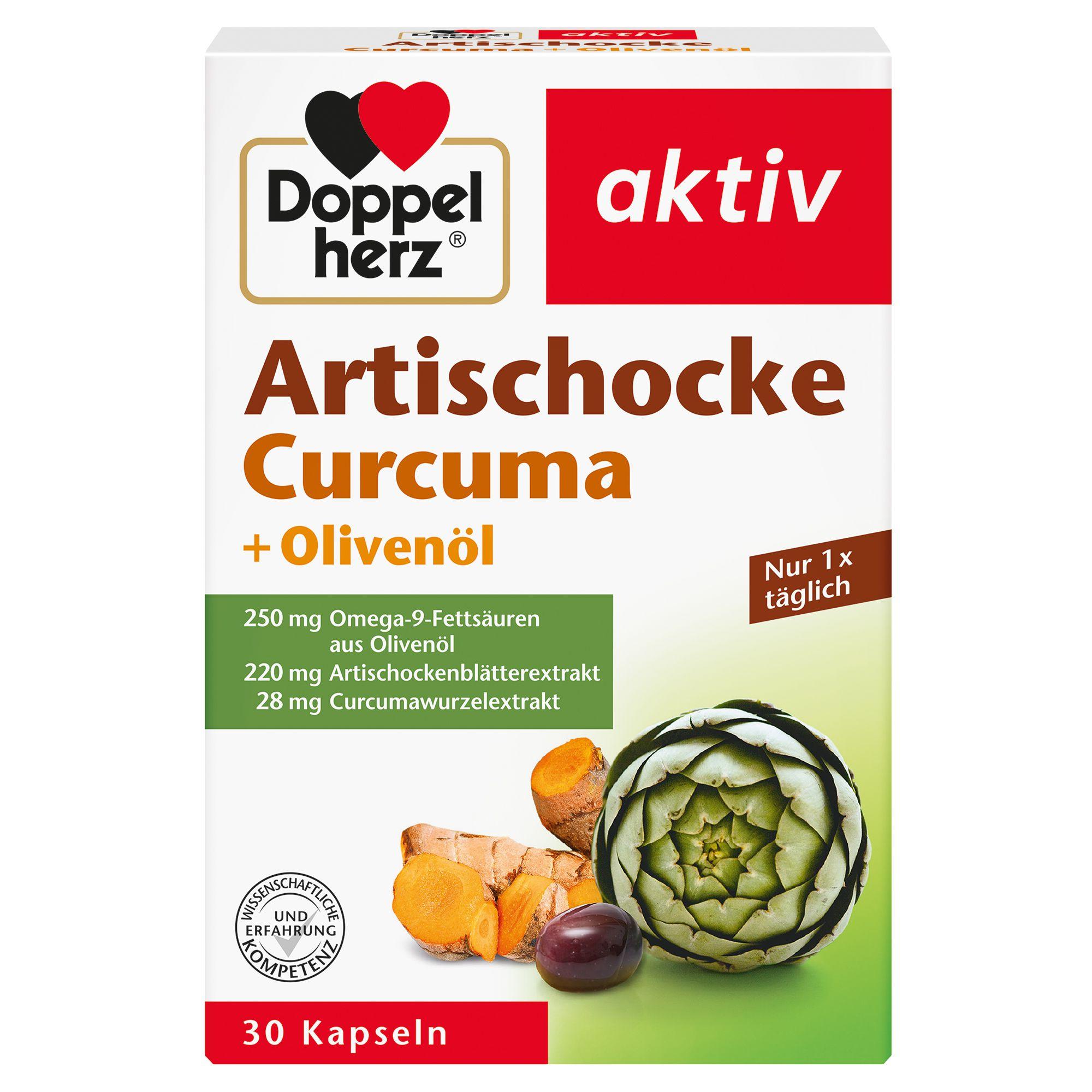 DOPPELHERZ Artischocke+Olivenöl+Curcuma Kapseln 30 St ...